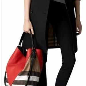 Burberry Red Chevron Leather Medium Susanna  Hobo